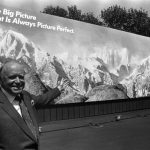 John Kluge unveils his latest venture, a multi-million-dollar computerized billboard painting system that he says will revolutionize the outdoor advertising industry, April 15, 1987