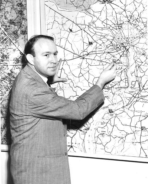 John Kluge at radio station WGAY in Silver Spring, MD, n.d.