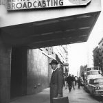 John Kluge in front of TV station WNEW, ca. 1959