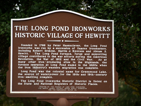Historic marker for the Long Pond Ironworks Site in New Jersey