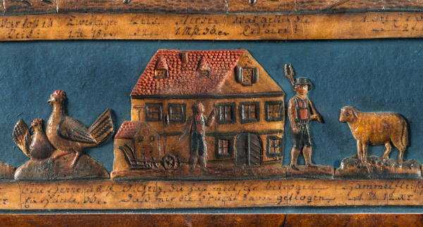 Section of a ceramic plaque showing livestock prices