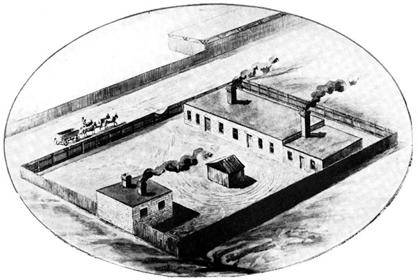 Illustration of the Mallinckrodt Chemical Works, 1868