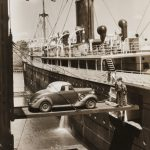 Cars were loaded onto a Arnold Bernstein ship with the help of a special lift, ca. 1920-1929