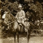 Arnold Bernstein portrait as a soldier on a horse, Belgium, August 30, 1914