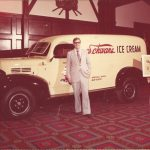 Marvin Schwan in front of an original ice cream truck, ca. 1977