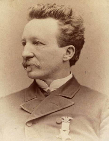 Albert Scheffer wearing Grand Army of the Republic medal, ca. 1885