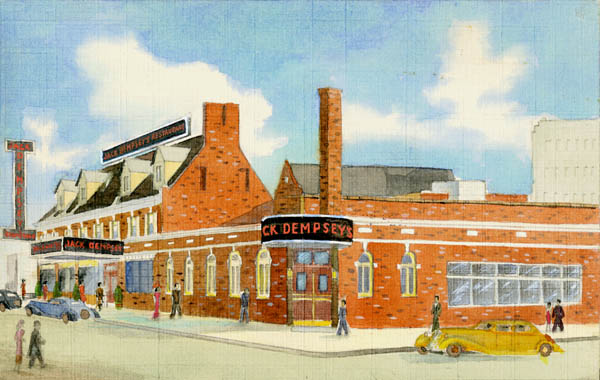 Curt Teich & Company, Inc., Artist rendering of Jack Dempsey's Restaurant, 1936