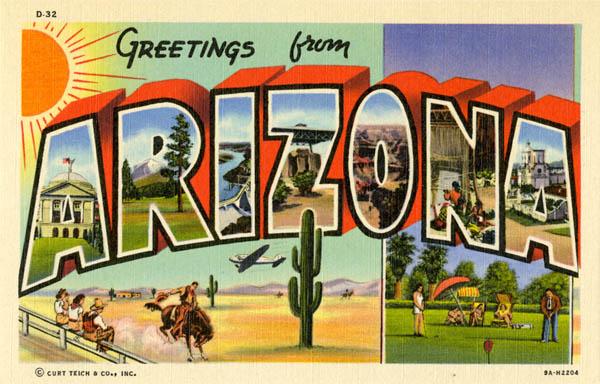 Curt Teich & Company, Inc., Greetings from Arizona, 1939
