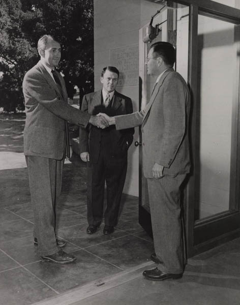 Frederick Terman meeting with David Packard and Bill Hewlett