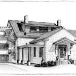 Drawing showing the rear of the Guenther house