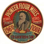 Pioneer Flour Mills brand flour barrel bearing the image of C.H. Guenther