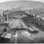 Bird's Eye view of the Singer factory, Elizabethport, New Jersey, ca. 1880