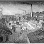 Factory yard at the Singer factory, Elizabethport, New Jersey, ca. 1880