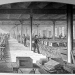 Sewing machine assembly room at the Singer factory, Elizabethport, New Jersey, ca. 1880
