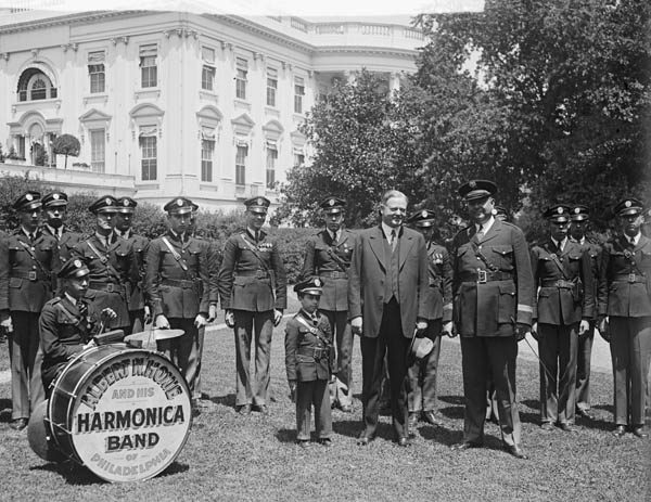 President Herbert Hoover with Albert G. Hoxie and His Harmonica Band at a concert at the White House, 1929