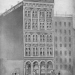 An illustration of the building used by the New Yorker Staatszeitung in the late 1850s