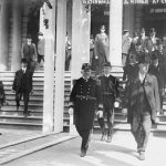 Photograph of United States Navy Rear Admiral Hugo Osterhaus at New York City Hall during a 1912 naval exercise