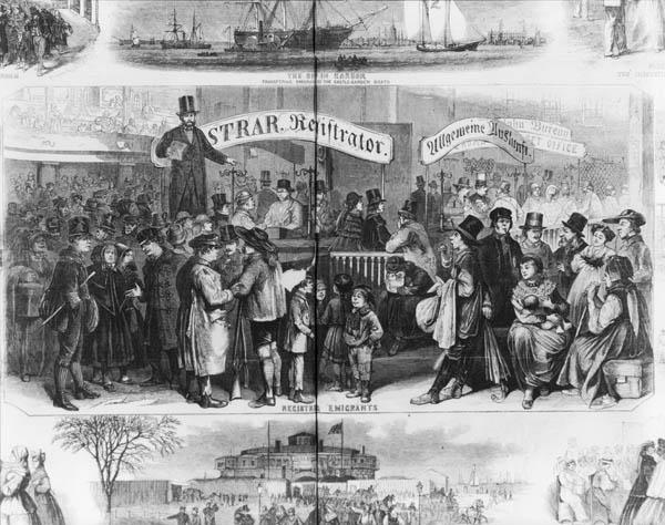 Immigrants arriving at Castle Garden, New York City, 1866