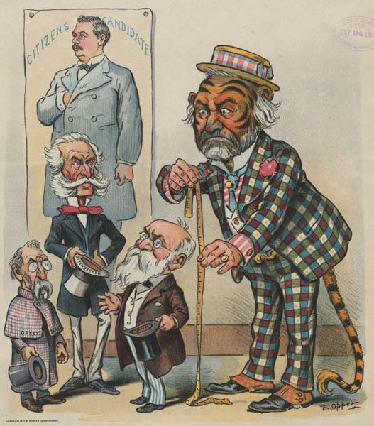 Cartoon depicting New York political boss Richard Croker as a tiger, the symbol of Democratic political machine Tammany Hall