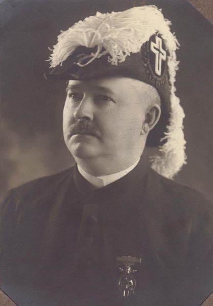 August Fruehauf in the regalia of the Knights Templar
