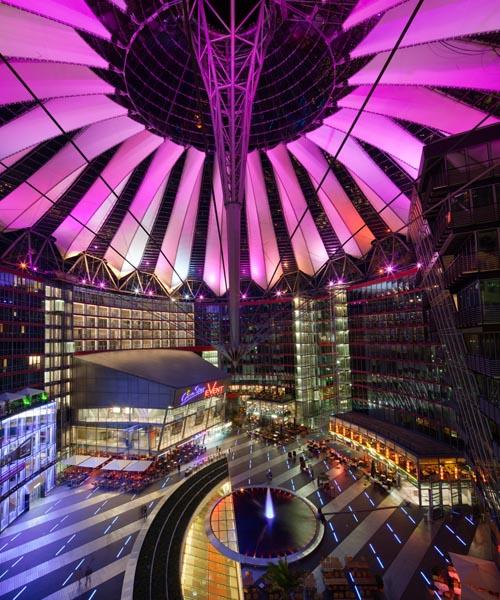 Sony Center Forum, Berlin, lit up at night