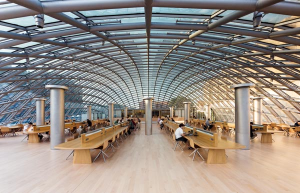 Reading room of the Joe and Rika Mansueto Library at the University of Chicago, completed in 2011