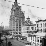 Pabst Building near Wisconsin Street (later Avenue), in Milwaukee, Wisconsin, around 1900