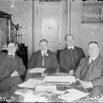 Garry Herrmann with National League president Harry Clay Pulliam, team owner John Brush, and American League president Ban Johnson, 1905