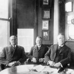 Garry Herrmann as chairman of the National Commission with John K. Tener (president of the National League) and Ban Johnson (president of the American League)
