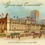 Postcard marking the 1909 Turnfest, held in Cincinnati and organized by Garry Herrmann