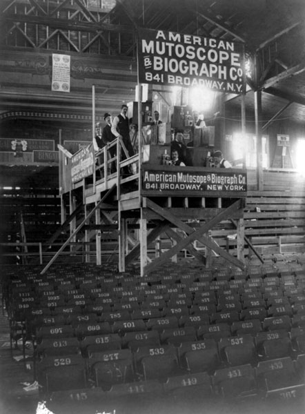 An example of a mutoscope display at a clubhouse on Coney Island, 1899