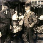 Mack Sennett and Adam Kessel on the set of a Keystone film