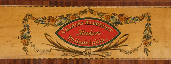 Detail of a square piano made by Charles Albrecht and Joshua Baker, Philadelphia, 1800-1805