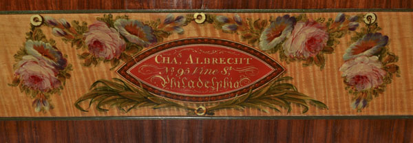 Detail of a square piano made by Charles Albrecht and Charles Deal, Philadelphia, 1813