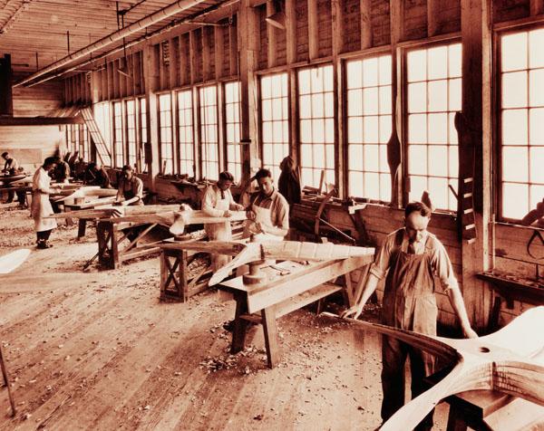 Boeing workers making propellers