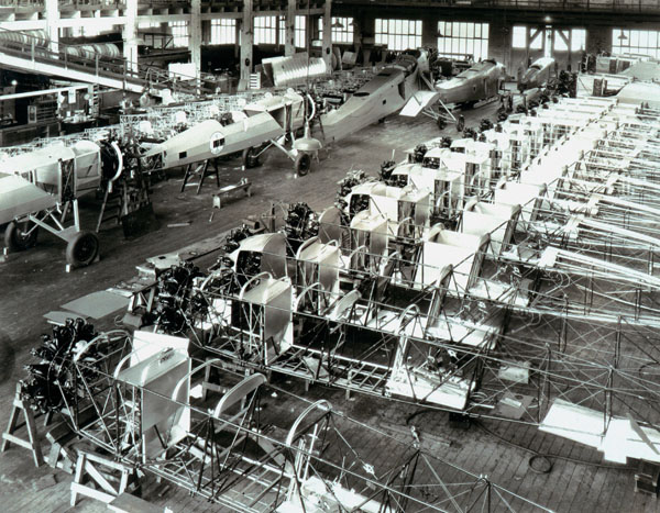 Interior of Boeing aircraft assembly plant, 1927