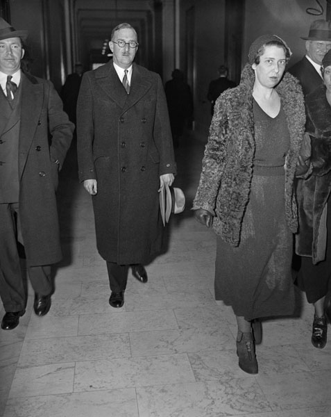 William Boeing leaving a hearing of the Black Committee, 1934
