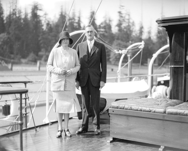 William and Bertha Boeing on the deck of the yacht Taconite, July 15, 1930