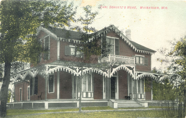The Schurz family home in Watertown, postcard, 1914
