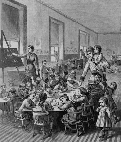 Illustration of a Boston kindergarten, 1881