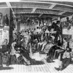 "Drawing of German emigrants aboard the ship ""Samuel Hop"" bound for America, circa 1850"