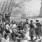 "Sketch of immigrants on deck of the steamer ""Germanic,"" ca. 1887"