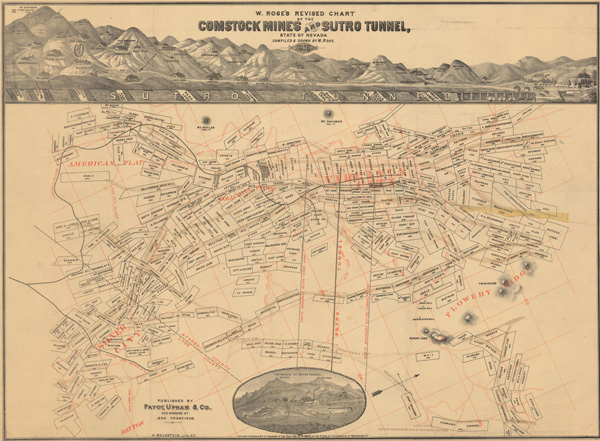 W. Rose's Revised Chart of the Comstock Mines and Sutro Tunnel