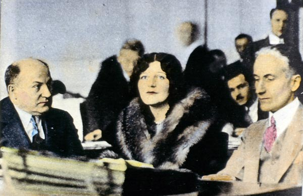 Romola Remus with father George Remus and co-counsel Charles H. Elston at Remus murder trial, 1927