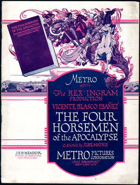 """The Four Horsemen of the Apocalypse"" Pressbook cover"