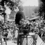 "Warren G. Harding speaking during his ""front porch"" campaign, 1920"