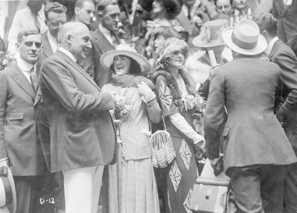 Warren G. Harding meeting with a female supporter, 1920