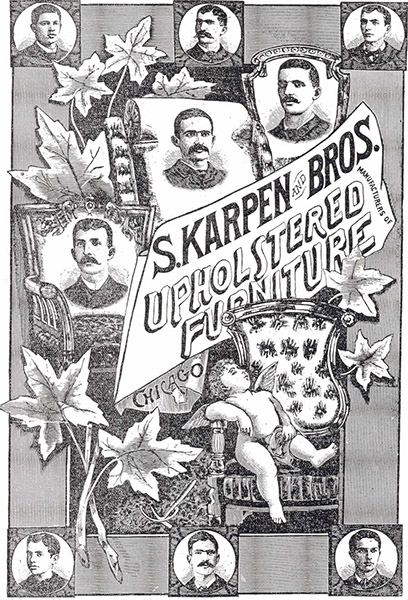 The Nine Karpen Brothers on the Cover of the Company's 1885 Catalog