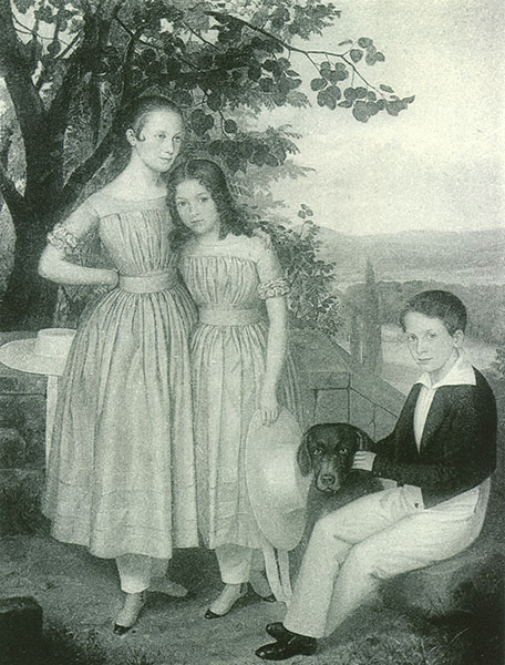 Siblings Anna, Emma, and Heinrich (Henry Villard) Hilgard, 1844