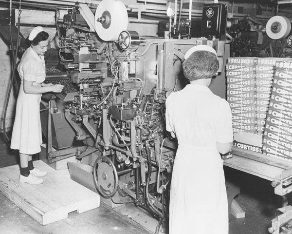 Women Wrapping Products at Curtiss Candy Plant, 1952